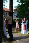Re-enacting Martin Luther's nailing of the 95 theses...to a tree : )