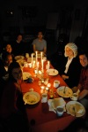 All Hallow's Eve candle-lit supper.  Can you spot Darth Vadar in this picture?