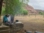 Warming our hands by the fire at lunch in Canyon de Chelly