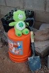 The Chapel Care Bear - Little Green Green - hard at work shoveling gravel